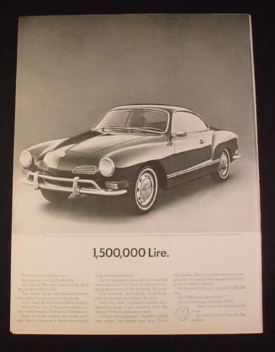 Magazine Ad for Volkswagen Karmann Gia Car, 1970, 1,5000,000 Lire