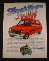 Magazine Ad for Renault 5 Car, 1976, Red & Green Models