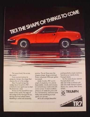 Magazine Ad for Triumph TR7 Car, 1976, Red Car