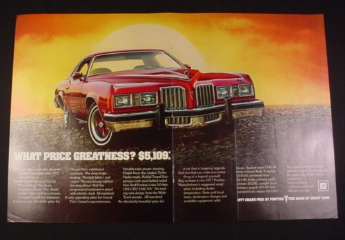Magazine Ad for GM 1977 Grand Prix Car, 1977, Red Car, Front view
