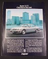 Magazine Ad for Chevrolet Jaguar XJ12, 1977, Silver car, Cityscape