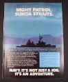 Magazine Ad for Navy Recruitment, 1977, Night Patrol, Sunda Straits