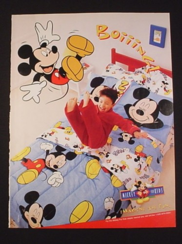Magazine Ad for Disney Mickey Mouse Bedding, 1998, Jumping on Bed