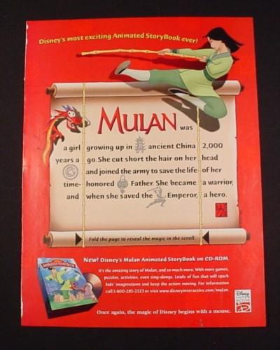 Magazine Ad for Disney Mulan Animated Storybook on CD-Rom, 1998
