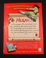 Magazine Ad for Disney Mulan Animated Storybook on CD-Rom, 1998
