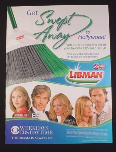 Magazine Ad for Libman Brooms Tour CBS Soap Contest, 2005