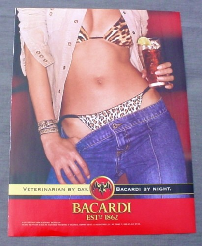 Magazine Ad For Bacardi Rum 2002 Woman In Leopard Print
