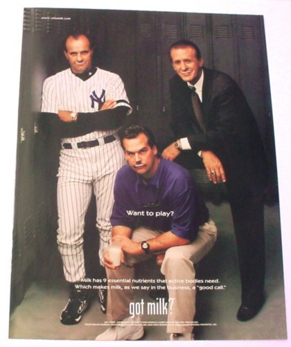 Magazine Ad for Got Milk Major League Baseball, 2000, Joe Torre