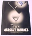 Magazine Ad for Absolut Fantasy, 2000, Vodka in a Book