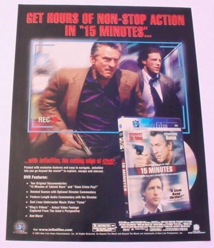 Magazine Ad for 15 Minutes Movie on DVD, 2001, Robert DeNiro