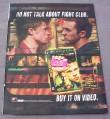 Magazine Ad for Fight Club Movie on Video, 1999, Brad Pitt, Edward Norton