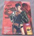 Magazine Ad for Piranha Energy Drink 2002 Sexy Woman in Leather Jacket