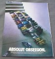 Magazine Ad for Absolut Obsession 2001 Bottle Shape Made of Sneakers