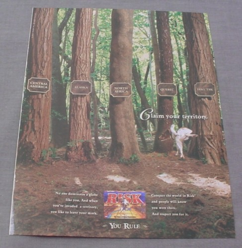 Magazine Ad for Risk Board Game 2001 Dog Peeing on Tree Claim Your Territory