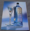 Magazine Ad for Bombay Dry Gin, 1999, Sapphire Martini