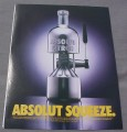 Magazine Ad for Absolut Squeeze, 2000, Bottle Juicer, Citron