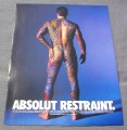 Magazine Ad for Absolut Restraint, 1998, Man All Tattoos except bottle shape