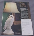 Magazine Ad for The Owl Lamp, Franklin Mint, 1989