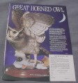 Magazine Ad for Great Horned Owl Sculpture, Franklin Mint, 1989