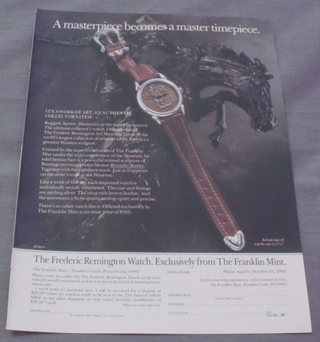 Magazine Ad for Frederick Remington Watch, Franklin Mint, 1989