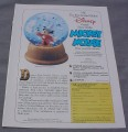 Magazine Ad for Disney Sorcerer Mickey Mouse Crystal Snow Globe, 1989