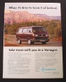 Magazine Ad for Volkswagen Vanagon, Mountains in Background, 1990