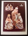 Magazine Ad for Lladro Eight Piece Nativity Set, 1983