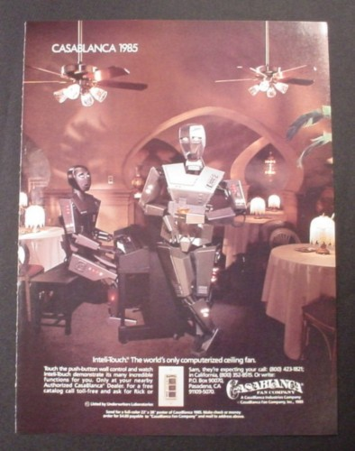 magazine ad for casablanca ceiling fans with robot bogey u0026 sam piano player