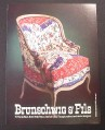 Magazine Ad for Brunschwig & Fils Upholstered Chair, Red White & Blue Pattern,