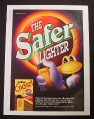 Magazine Ad for Cricket Safer Lighter, 1994