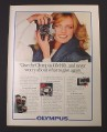 Magazine Ad for Olympus OM-10 Camera, Cheryl Tiegs Celebrity Endorsement, 1981