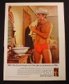 Magazine Ad for BVD Men's Underwear, Beefcake Hunk in Cowboy Hat, 1981