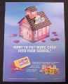 Magazine Ad for General Mills Box Top For Education Program, 1998, Tin School House Toy