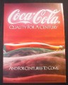 Magazine Ad for Coca-Cola, Quality For A Century And For Centuries To Come, 1988