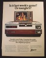 Magazine Ad for Zenith Model KR9000W Video Cassette Recorder, 1978