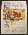 Magazine Ad for Boots Self-Locking Nuts, Farmer Fixing Tractor, 1944