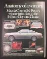 Magazine Ad for Mazda Cosmo 2+2 Rotary Car, Daytona Classic Winner, 1976