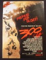 Magazine Ad for 300 Movie, Pushed Off Cliff, Gerard Butler, Lena Headey, 2007