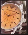 Magazine Ad for Emprio Armani Model # AR 0625 Watch, 2003