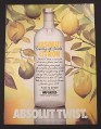 Magazine Ad for Absolut Citron, Absolut Twist, Lemon & Limes on Tree, 1989