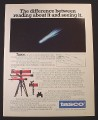 Magazine Ad for Tasco Telescopes, 4 Models, 1984