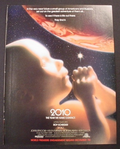 Magazine Ad for 2010 Movie, Sci-Fi, Roy Scheider, John Lithgow, Helen Mirren, 1984