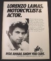 Magazine Ad for Motorcycle Industry Council, Lorenzo Lamas Celebrity