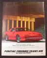 Magazine Ad for Pontiac Trans Am, Red Car, 1985