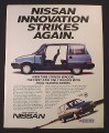 Magazine Ad for Nissan 1986 Stanza Wagon Car, Side View Sliding Door, 1985