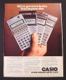 Magazine Ad for Casio Scientific Calculators, FX-602P FX-2700P FX-3500P FX-180P, 1981