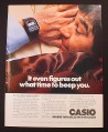 Magazine Ad for Casio Calculator Alarm Watch, Man Sleeping, 1981