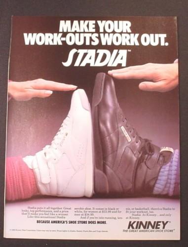 Magazine Ad for Kinney Stadia Aerobics Shoe & Men's Sneaker, 1981