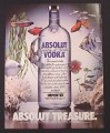 Magazine Ad for Absolut Treasure, Vodka, Bottle with Fish & Coral, 1986