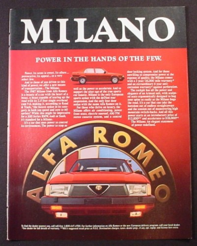 Magazine Ad for Alfa Romeo Milano Car, Power In The Hands Of the Few, 1986